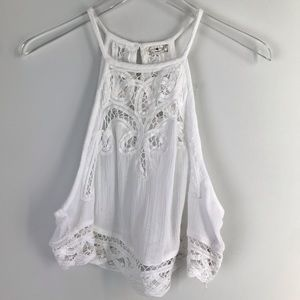 Free People Lace Detail Delicate White Crop Top XS